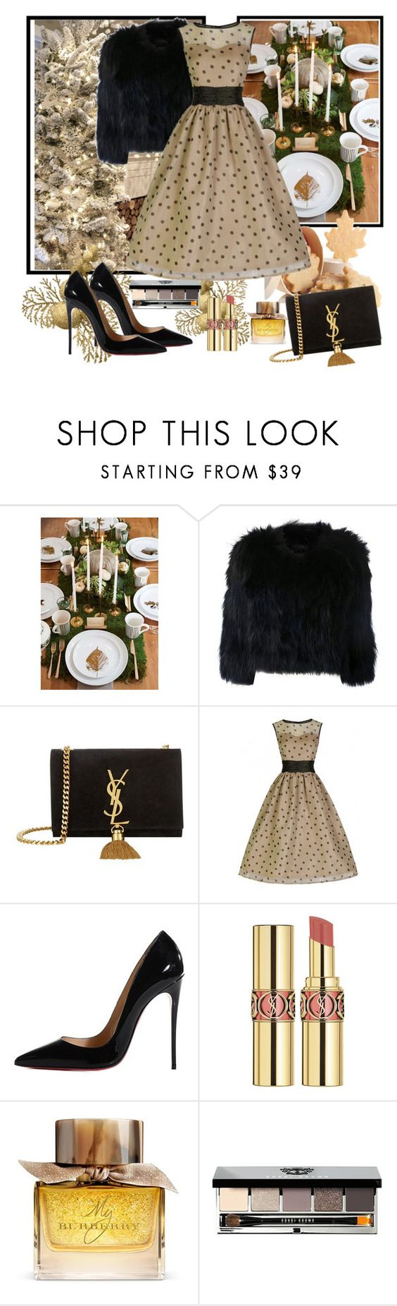 """Untitled #580"" by misaflowers ❤ liked on Polyvore featuring H Brand, Yves Saint Laurent, Christian Louboutin, Burberry and Bobbi Brown Cosmetics"