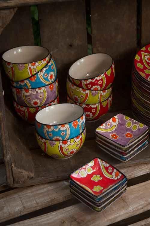Hand painted Ceramic Bowls/Plates by Vagabond Vintage
