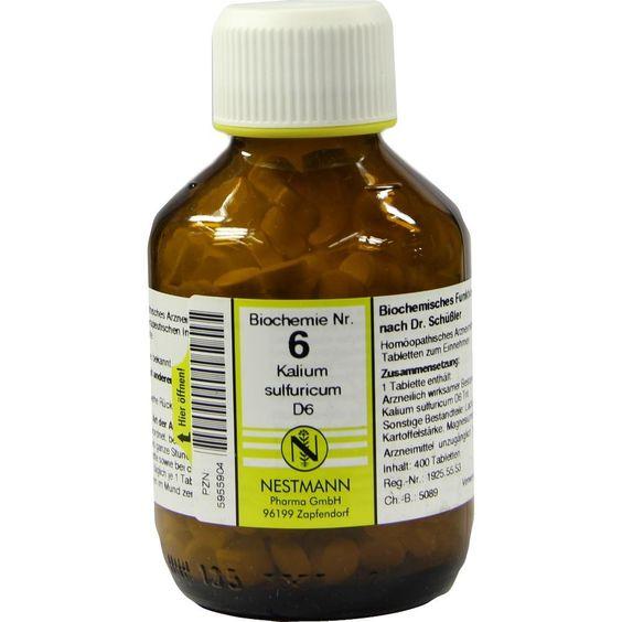 BIOCHEMIE 6 Kalium sulfuricum D 6 Tabletten:   Packungsinhalt: 400 St Tabletten PZN: 05955904 Hersteller: NESTMANN Pharma GmbH Preis:…