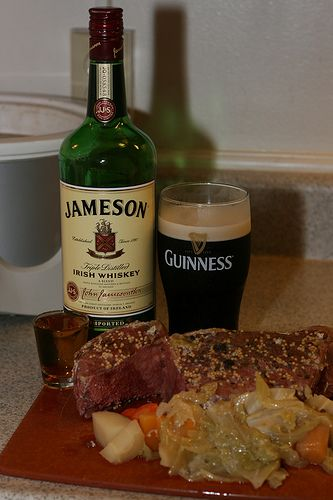 Jameson Irish Whiskey, Guinness Stout and corned beef and cabbage