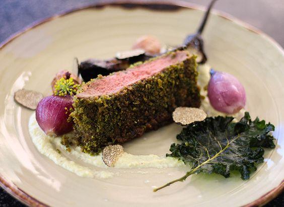 Herb-Crusted Flat Iron Steak with Leek Puree