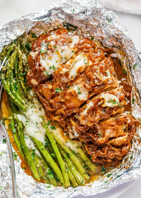 French Onion Chicken Foil Packets with Cheesy Asparagus