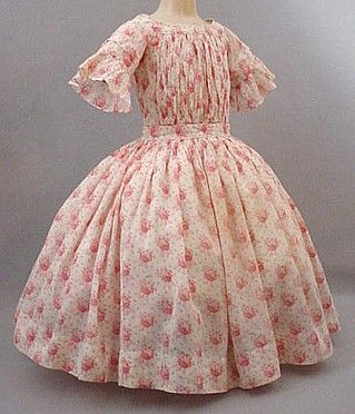 Girl's calico dress, circa 1850