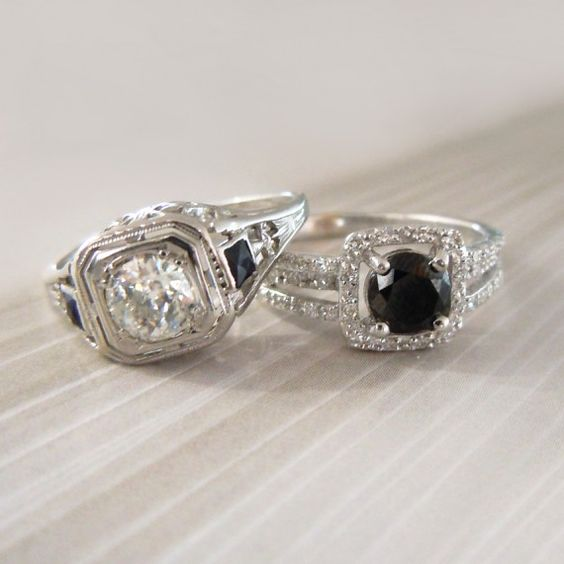 Antique Euro Cut Diamond & Blue Sapphire Ring + Round Black Diamond Halo Ring #jewelry #bridal #wedding #engagment
