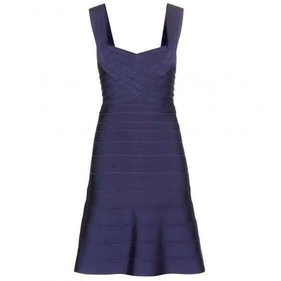 Hervé Léger Elisha Bandage Dress ($1,400) ❤ liked on Polyvore featuring dresses, blue, blue dress, herve leger dress, bandage dress, blue bandage dress y hervé léger