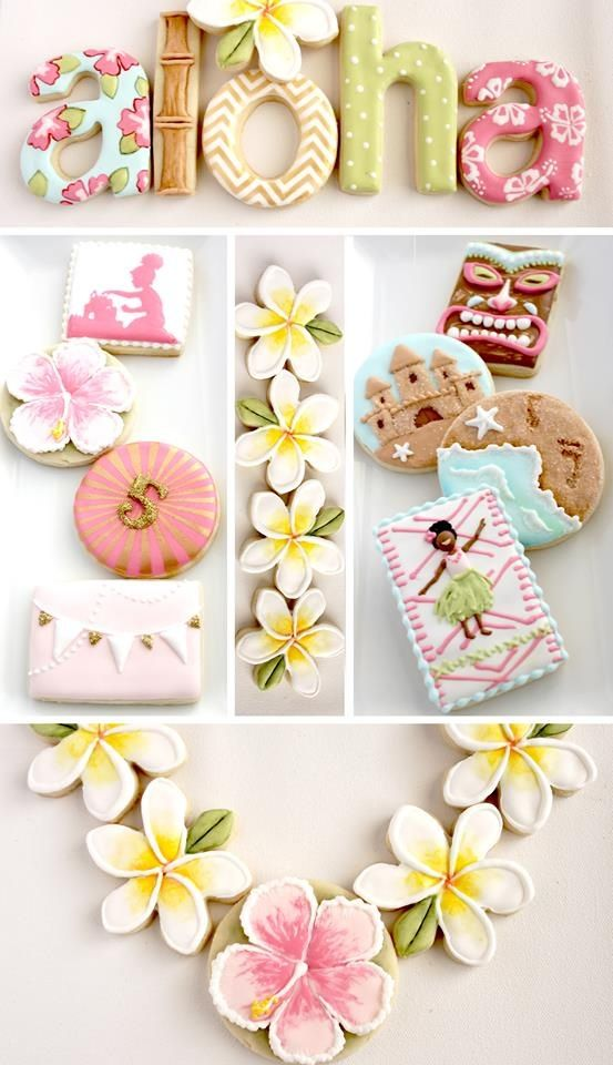 Luau Cookies~      from Arty McGoo, Pink, yellow, green, white, flowers, hula, tiki