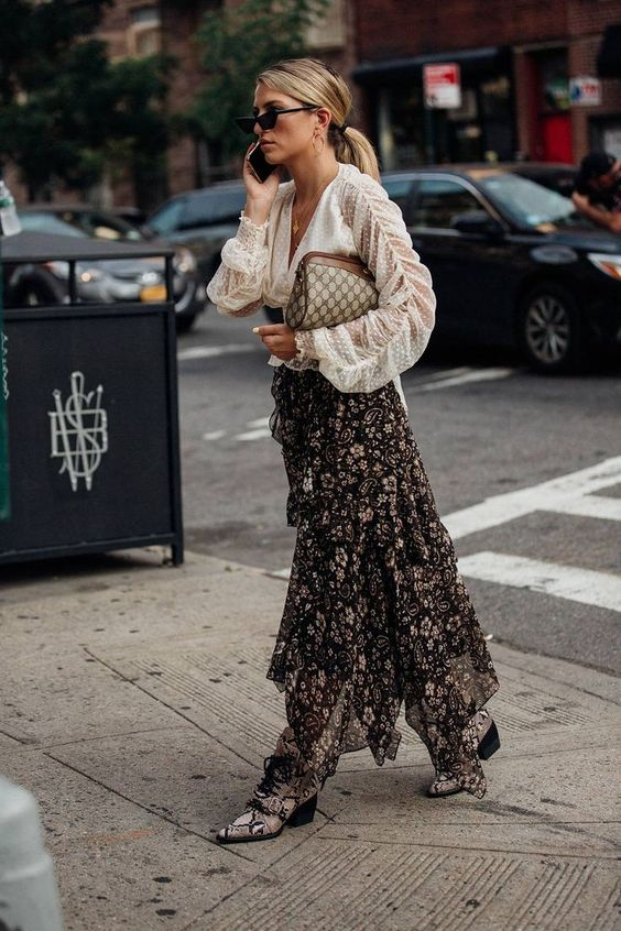white sheer blouse + black floral maxi skirt + snakeskin ankle boots