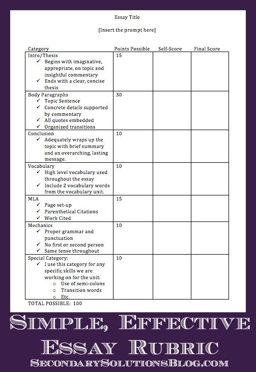 to be simple and assessment on pinterest simple effective essay rubric  secondary solutions