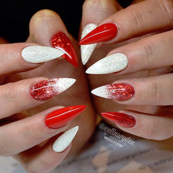 Does someone know how to do this Red and White Ombre Christmas Inspired Stiletto Nails Designs? Someone could tell me the full steps, please?