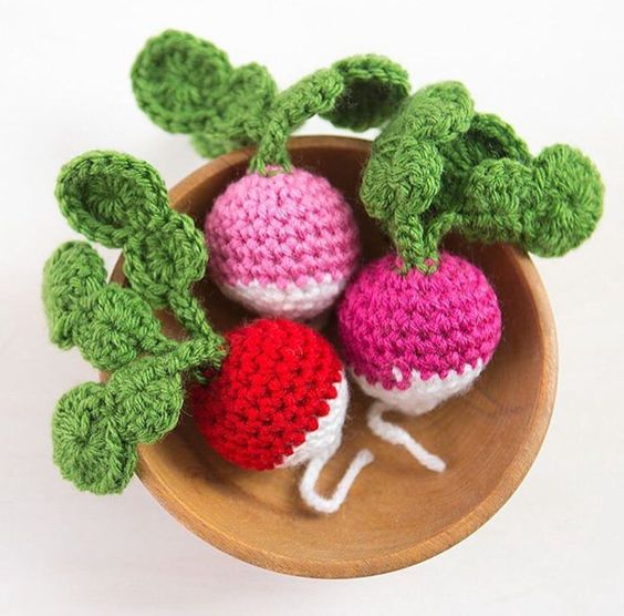 Amigurumi Crochet Radishes: