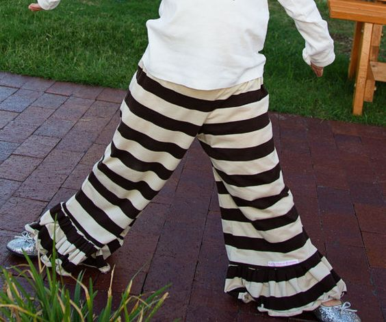 brown and tan striped big ruffle pants by LuluGraceDesignsTX, $27.00