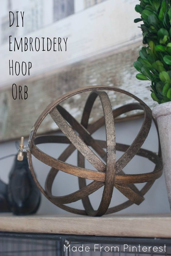 DIY Embroidery Hoop Orb. These DIY Embroidery Hoop Orbs can be made in under 30 minutes. I love it when things are big on easy but also big on impressive!: