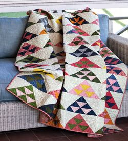 Susan McDermott dressed her Tents of Armageddon-the patterns traditional name-in surprisingly bright Civil War reproduction fabric prints. This quilt, Pomegranate Mountain, is fat quarter friendly.