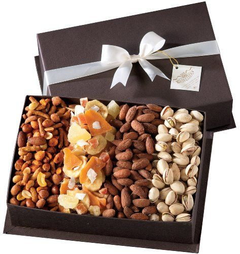 Great gift for graduation, birthday, thinking of you or any occasion Perfect gift basket for family and friends, or as a corporate office gift. Gift box includes: roasted and salted pistachios and almonds, spicy Cajun mix, and assorted dried fruit medley. Gourmet Fruit and Nut Gift Tray - A Healthy Gift Idea by Broadway Basketeers