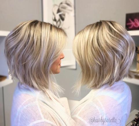 Transformation warm to ashy dimensional lob modern salon