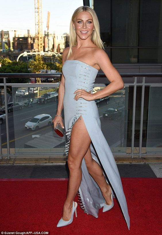 Complementary:A pair of matching sky blue stiletto heels and a small silver clutch rounded out her elegant attire