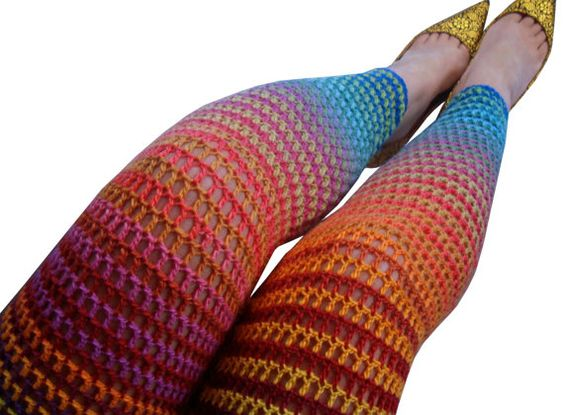 Rainbow Bright Crochet Leggings