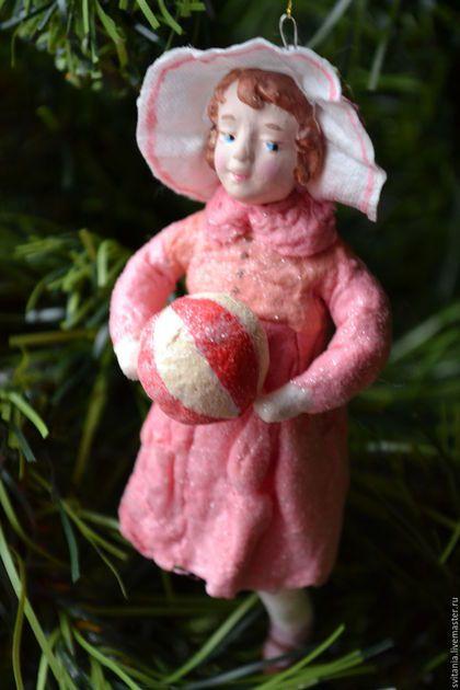 Ватная елочная игрушка. Ватное папье-маше. Игрушка из ваты. Новогодняя игрушка. Елочная игрушка. Елочное украшение. Подарок на Новый Год.: