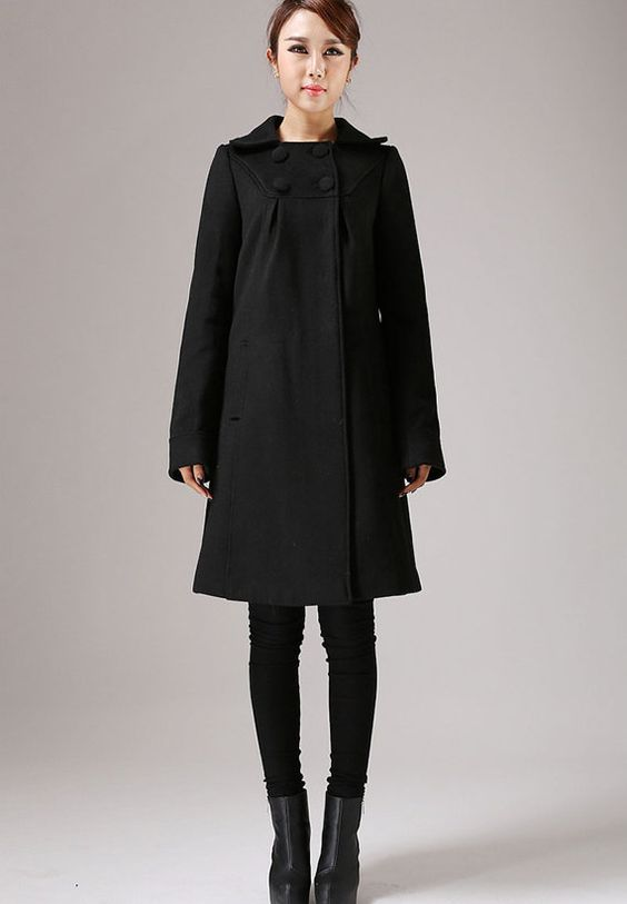 Black Wool Classic Coat with Top Buttoning A-Line by xiaolizi