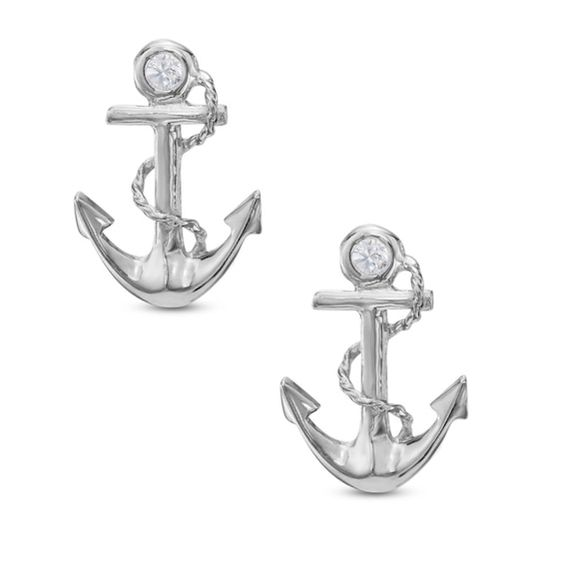 Cubic Zirconia Anchor Stud Earrings In 10k White Gold Piercing White Gold Stud Earrings Gold