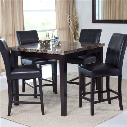 Contemporary 42 X 42 Inch Counter Height Dining Table With Faux Marble Top Hot Home Goods Contemporary Dining Table Square Dining Tables Black Dining Room 42 inch high dining table