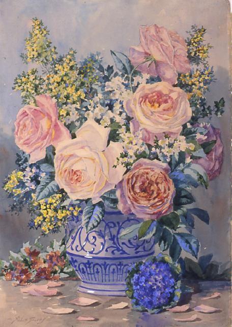 flowers in a blue and white vase - Abbott Fuller Graves: