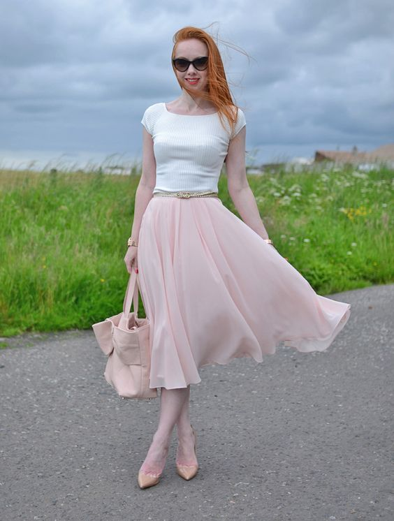 pink chiffon midi skirt with boat neck top and high heels | THINGS ...