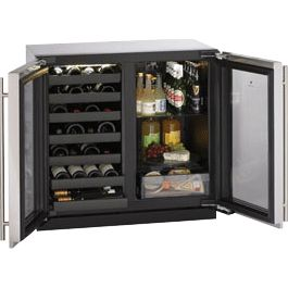 Wine fridge with Beverage center.