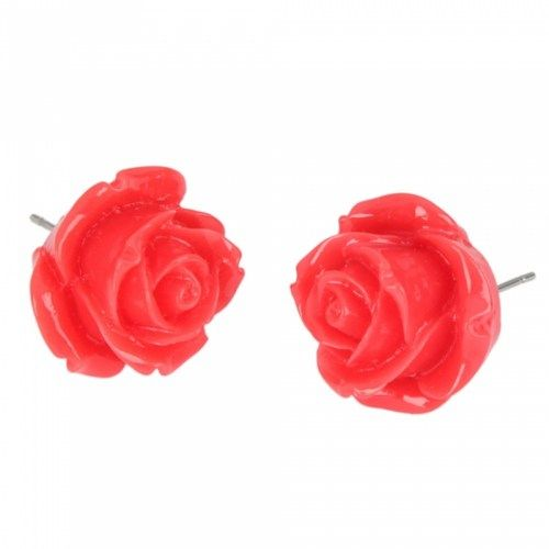 Red Rose Style Stud Earrings | favwish - Jewelry on ArtFire
