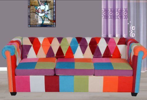 Chesterfield 3 Seater Sofa Coloful Fabric Patchwork Luxury Settee