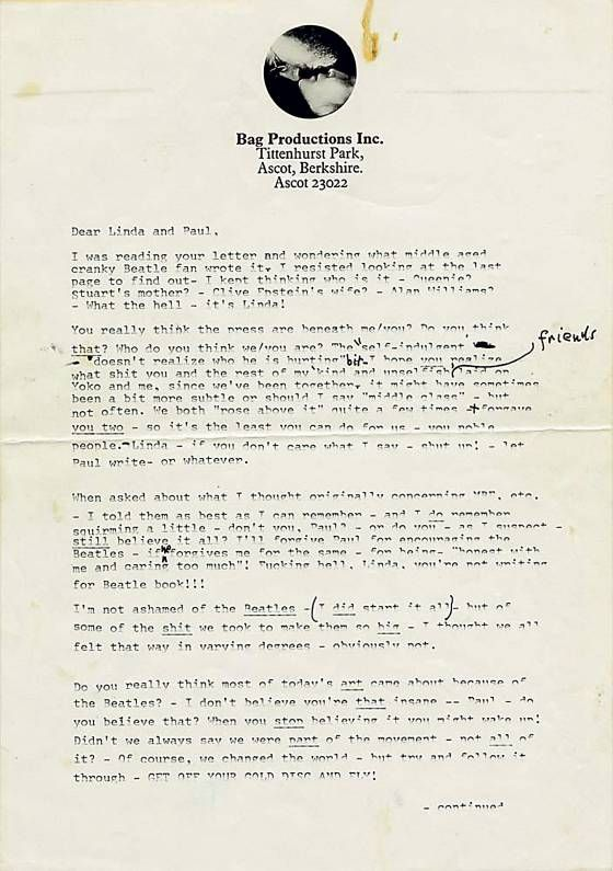 """To Paul and Linda McCartney:  In this two-page tirade, known to Beatles scholars as """"the John rant,"""" Lennon trashes Paul, the Beatles, the press, and pretty much everybody else. More letters at: www.vulture.com/... #johnlennon #beatles #yokoono"""