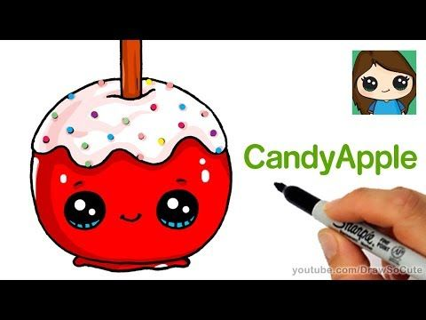 How To Draw A Candy Apple Easy Youtube Candy Drawing Draw So Cute Christmas Cute Drawings