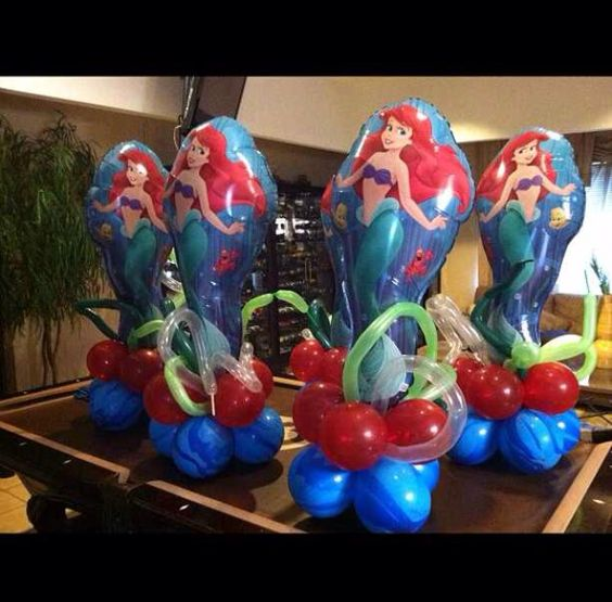 mermaids little mermaid centerpieces and balloons on pinterest. Black Bedroom Furniture Sets. Home Design Ideas