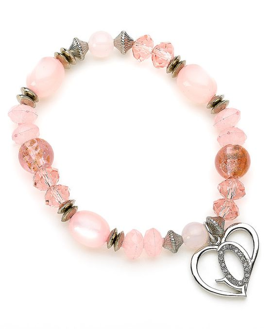 Look at this Crystal & Pink Beaded God's Love Stretch Bracelet on #zulily today!