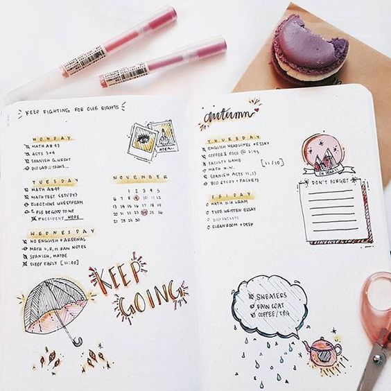 Half eaten macaroon aesthetic, was going for autumn colors but i thought pink/yellow was nice for this. #bulletjournals