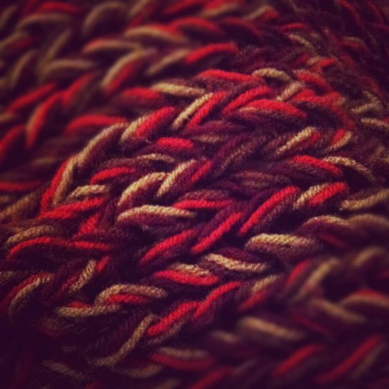 Simple afghan for the couch. 4 yarns held together and ...