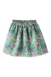 ROMWE Floral Print Elastic Waistband Pleated Skirt