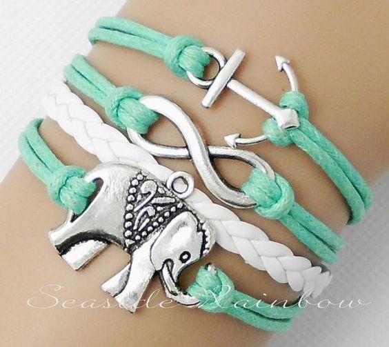 Mint green-Infinity bracelet-elephant bracelet-anchor bracelet--boyfriend, girlfriend, gifts, best friend bridesmaid bracelet-Best gift N221