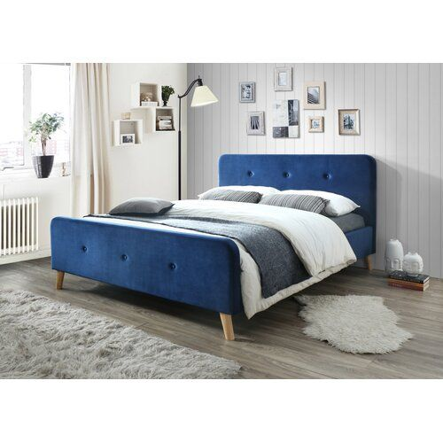 Lebeau Kingsize 5 Bed Frame 17 Stories Color Navy Blue Bed