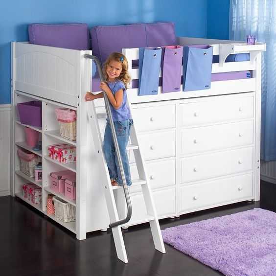 Kong Full Size Loft Bed With Built-in Dressers And Shelves