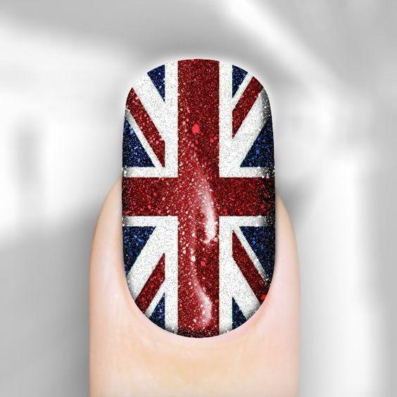 Glittering union jack flag nail wraps