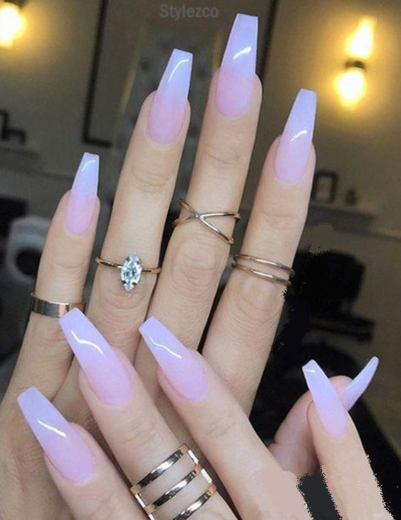 Sheer Milky Pink Long Nail Art Trends \u0026 Styles for 2018,2019