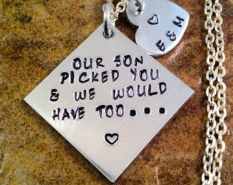 Bridal Shower Gift Daughter In Law : in law necklace Popular items for daughter in law gift Wedding ...