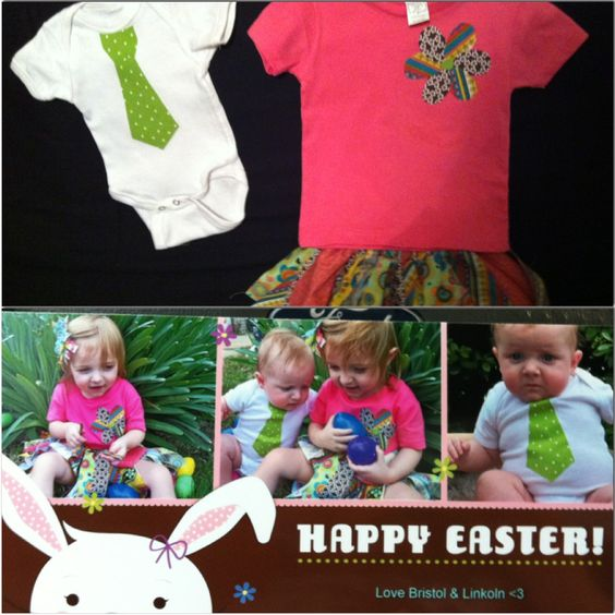Outfits for Easter pics!   Scrap skirt- Bought scrap bundles from Jo-ann's & cut into smaller strips & tied around a strip of elastic  Girls shirt- Bought tshirt from Hobby Lobby & used some of scraps from skirt to cut flower petals out & used wonder under to adhere to the shirt. (I suggest sewing a border around the flower to keep it on longer)  Boys tie onsie- Cut tie pattern from scraps & used wonder under to adhere to onsie  We took the pictures in Poppy & Grandmas backyard & printed…