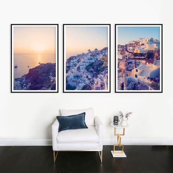 Oia Santorini Sunset Triptych
