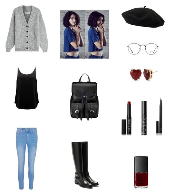 """""""Work Outfit #105"""" by cherryflame14 ❤ liked on Polyvore featuring Maison Margiela, BA&SH, Rupert Sanderson, Goorin, Ray-Ban, Aspinal of London, NARS Cosmetics and Betsey Johnson"""