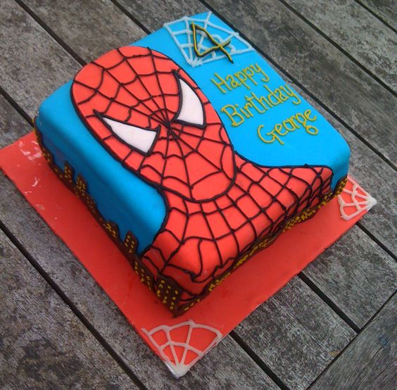Spiderman cake vanilla sponge with fondant detail and for Spiderman template for cake