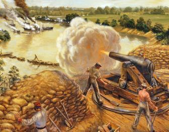 This pin links to the NPS civil war union and Confederate POW database  Painting of Confederate troops at Fort Darling firing on Union gunboats in the James River.