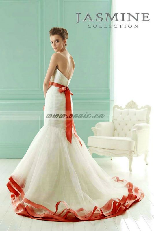 Wedding dresses with orange sashes 20130 new low for Wedding dress with red sash