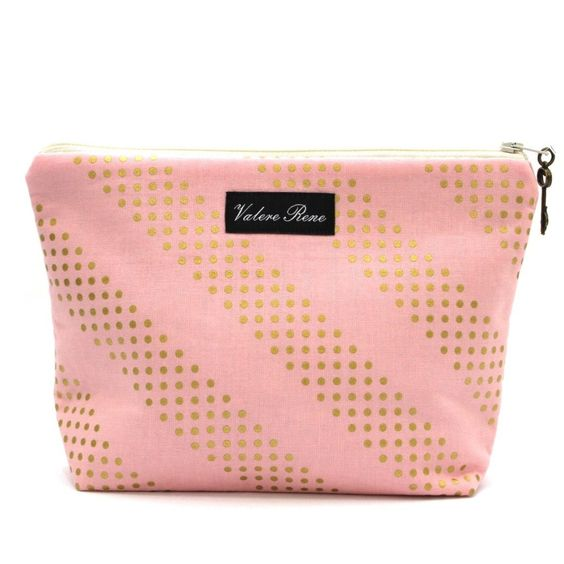 MEDIUM COSMETIC BAG IN METALLIC STRIPE